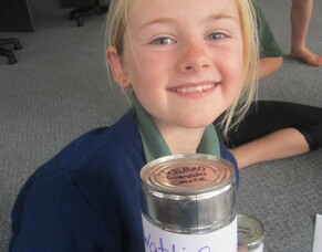 St Josephs Matamata - Labelling tins for the food bank
